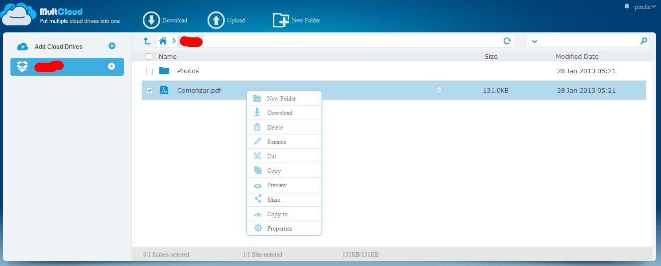 usar dropbox con MultCloud