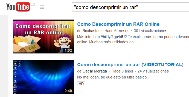 buscar con comillas en youtube
