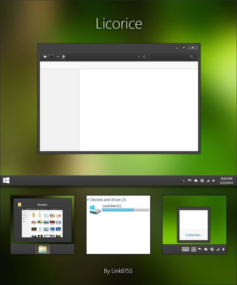 Licorice tema para windows 8.1