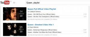 buscar playlists en youtube