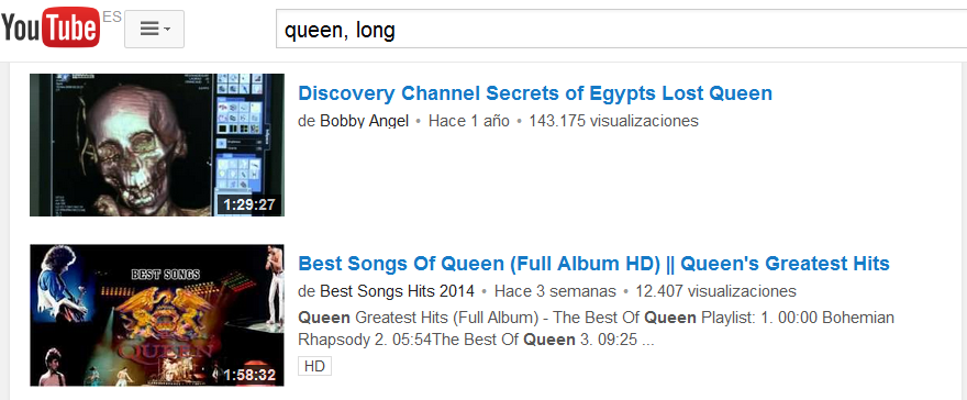 como encontrar videos largos o cortos en youtube