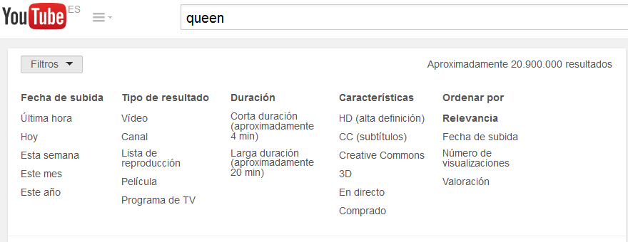 usar filtros en youtube