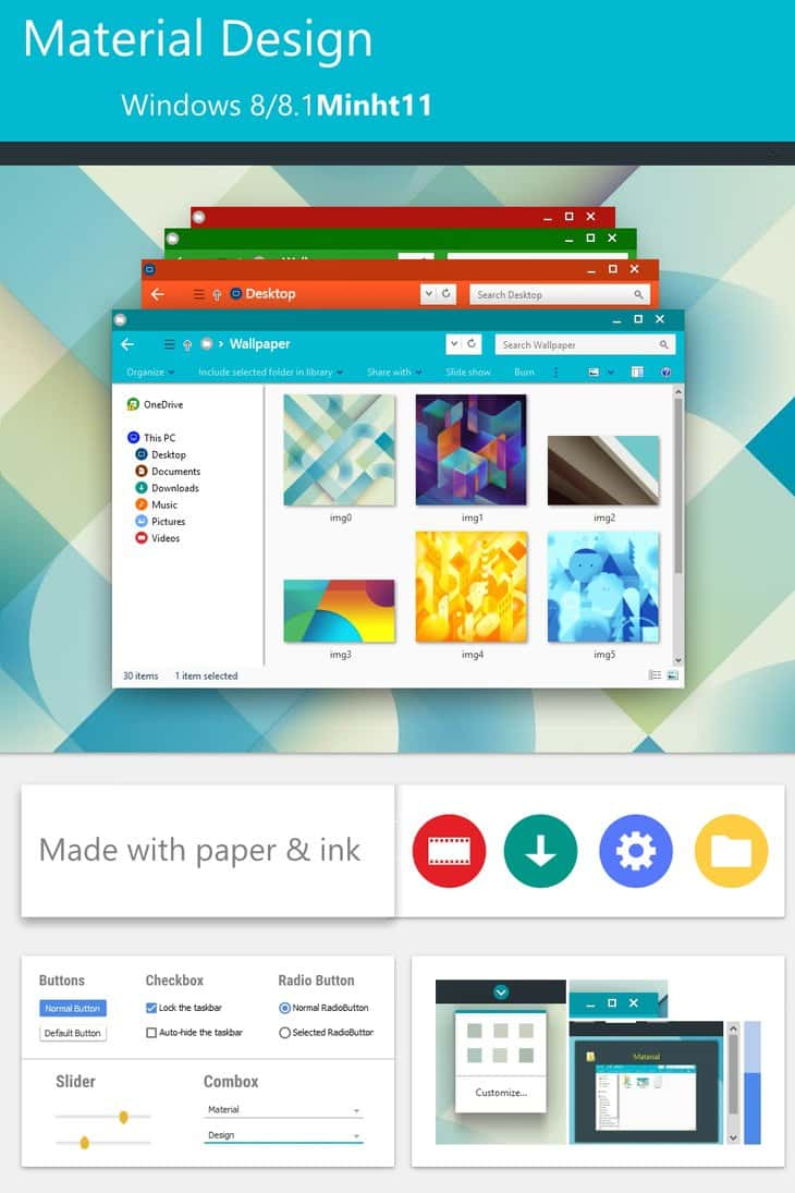 Material Design tema windows 8.1